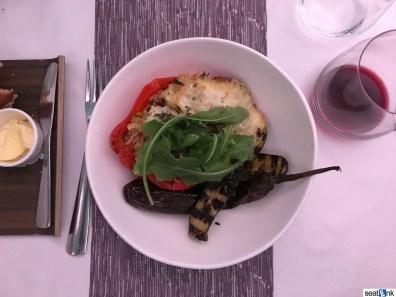 Virgin Atlantic business class meal - stuffed red pepper