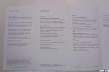 Virgin Atlantic Upper Class menu