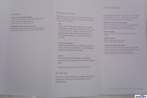 Virgin Atlantic Upper Class dessert and snacks menu