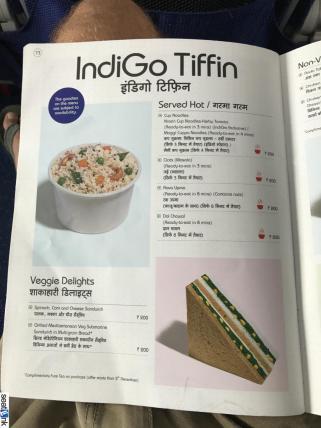 IndiGo inflight food menu