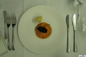 ANA first class meal caviar and smoked salmon