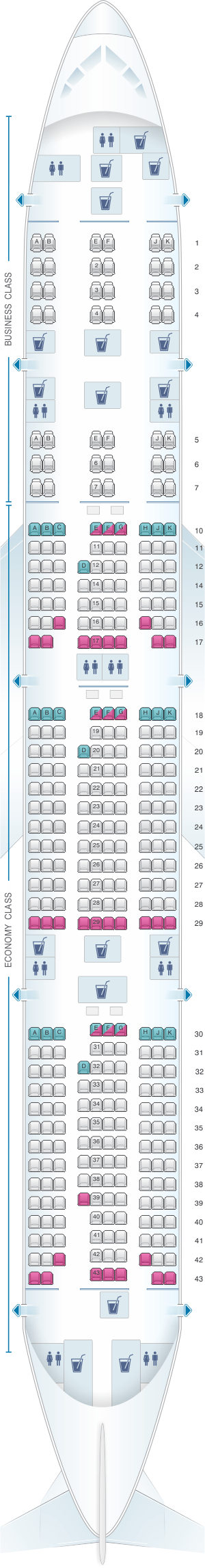 Boeing 777 seating chart qatar for Plan cabine 777 300er