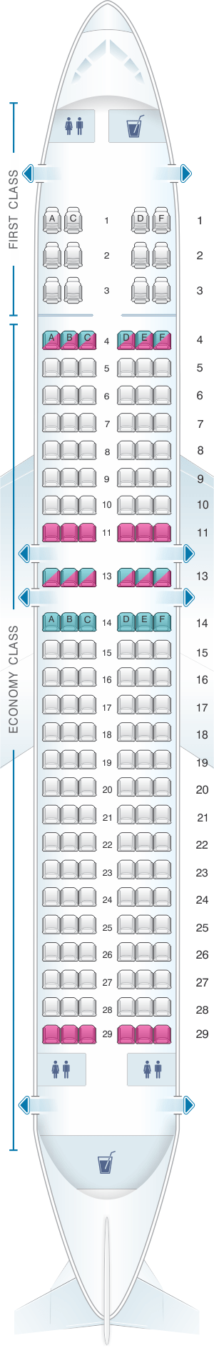 Seat Map For Sun Country Airlines Boeing B737 800 162pax
