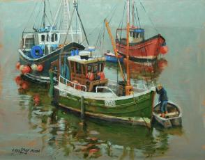 """Three Fishing Boats,"" by Frank Gaffney, Oil"