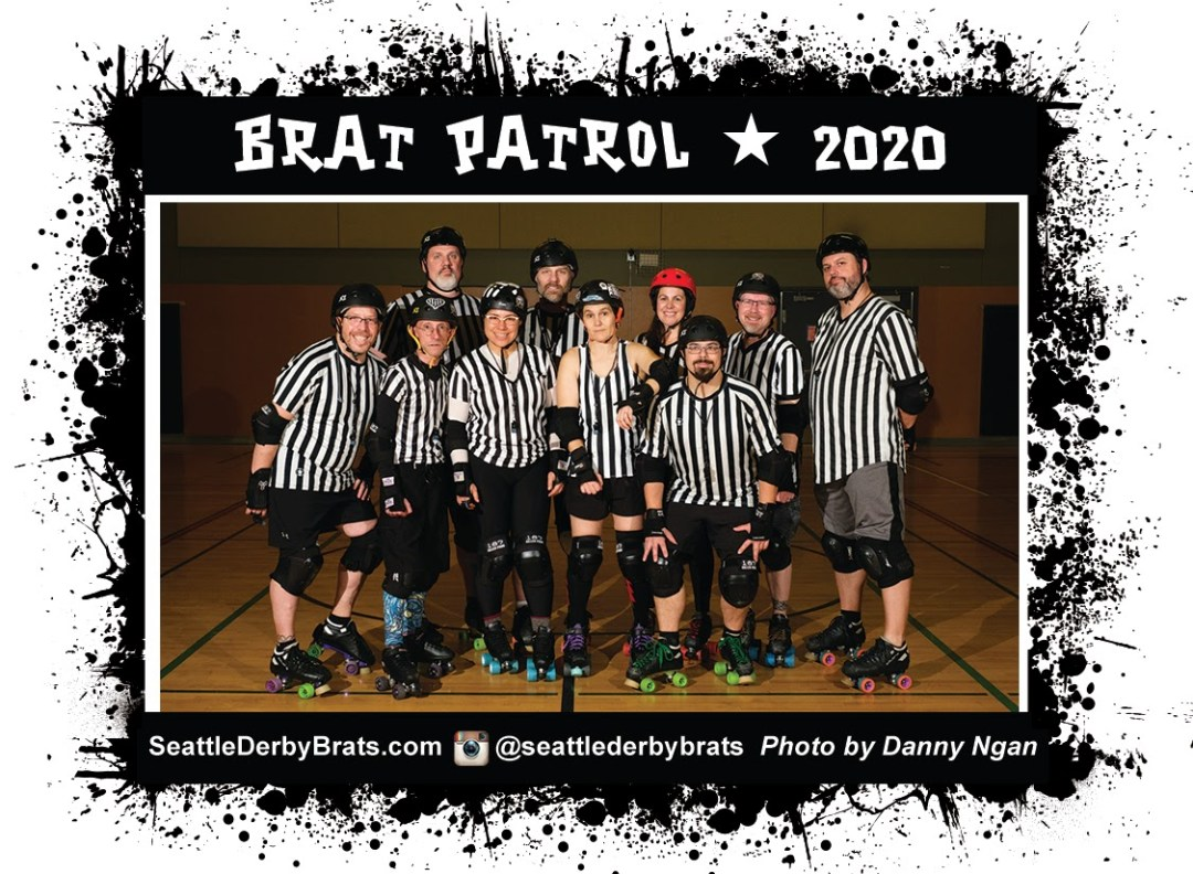 Acid Pops 2020 Team Photo featuring the junior roller derby team in their yellow jerseys, safety gear, and helmets that showcase their personality.
