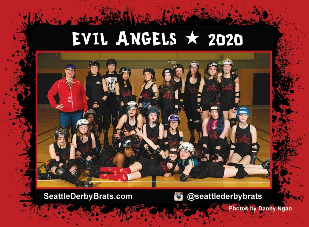 Evil Angels 2020 Team Photo featuring the junior roller derby team in their black jerseys, safety gear, and helmets that showcase their personality.
