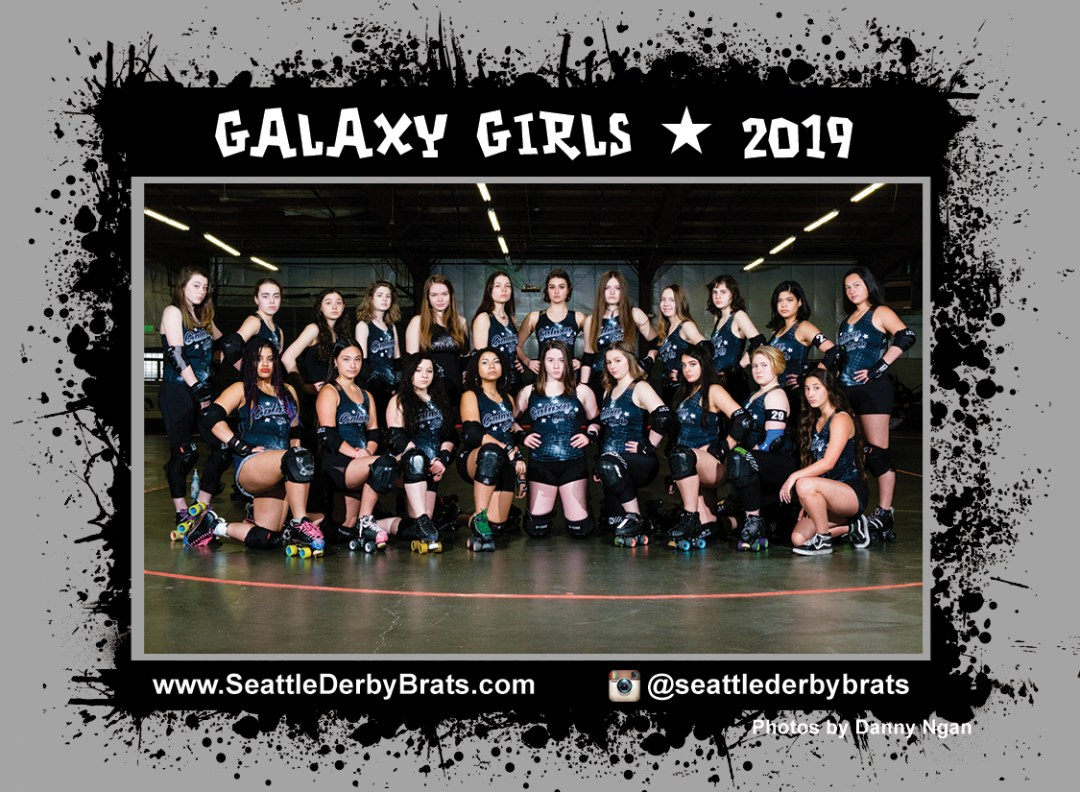 Galaxy Girls 2020 Team Photo featuring the three time national champions junior roller derby team in their black jerseys, safety gear, and helmets that showcase their personality.