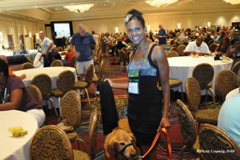 "Taylor-Boyd and Ranger were big hits at the Disabled American Veterans national convention this year in Las Vegas in August. ""Not only is he my Velcro dog but he's my identity,"" she says."