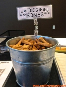 This treat bucket on the desk of Amazon's receptionist is a favorite stop for the hundreds of dogs that go to work there with their people. Photo from Seattle DogSpot.