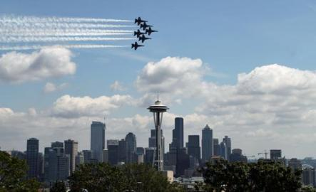 The Navy's Blue Angels will fly over Seattle this week. Photo from Queen Anne News.