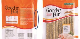 Recall expanded for Good 'N' Fun – Beefhide Chicken Sticks Dog Treats