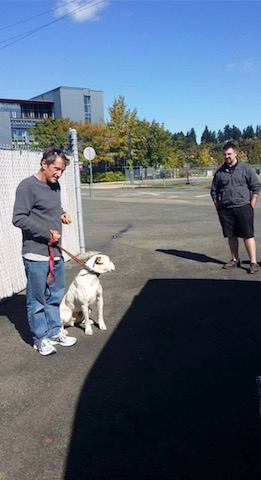 Here is Steve Miller passing Max off to Drew Repp at Storm Rescue.