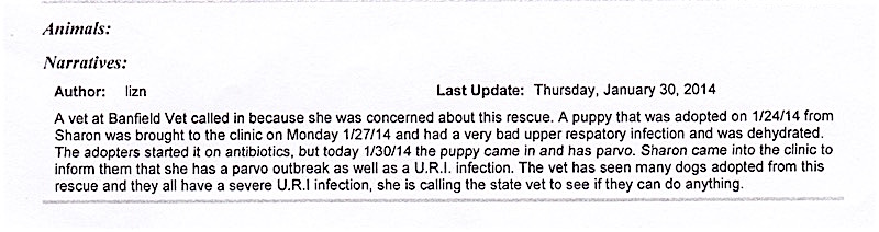 "A Banfield veterinarian filed a report with JAS saying she had seen many dogs adopted from Furever Homes and ""they all have a severe URI infection."""