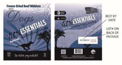 """""""Vital Essentials Freeze-Dried Beef Nibblets Entrée for Dogs Recall"""