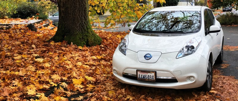 Img of 2016 Nissan Leaf in Fall Folliage -photo by Deb Seymour