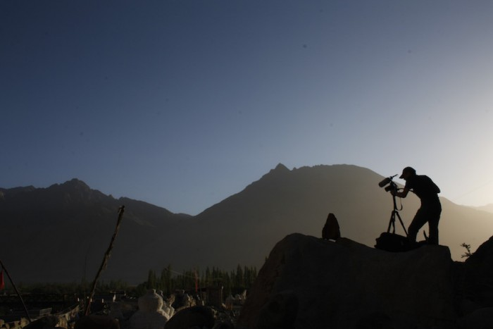 Erik Koto filming for 'The Song Collector' in Ladakh. (Courtesy photo by Erik Koto.)