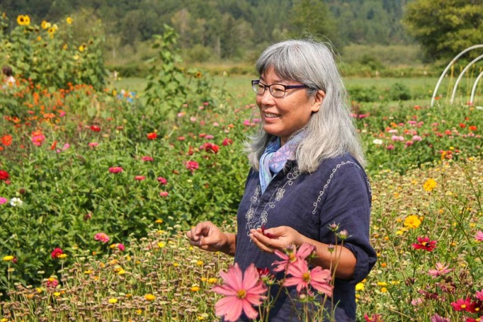 Kathy Hattori at the Jubilee Farm. (Photo by Carolyn Higgins)