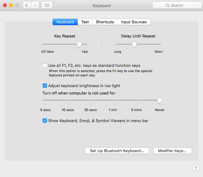 Keyboard settings in OS X with Show Keyboard, Emoji & Symbol Viewers in menu bar selected