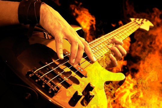 On-fire guitar playing