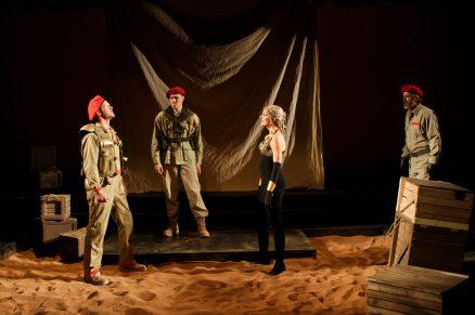 "Hans Altwies as Mark Antony, Matt Shimkus as Messenger, and Amy Thone as Cleopatra in Seattle Shakespeare Company's 2012 production of ""Antony and Cleopatra."" Photo by John Ulman."