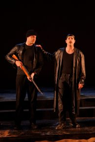 "Chris Maslen as Menas and Mike Dooly as Pompey in Seattle Shakespeare Company's 2012 production of ""Antony and Cleopatra."" Photo by John Ulman."