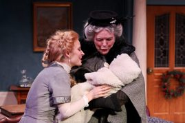 "Jennifer Sue Johnson as Nora and Jody McCoy as Anne-Marie in Seattle Shakespeare Company's 2013 production of ""A Doll's House."" Photo by John Ulman."