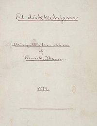 """Original manuscript cover page of """"A Doll's House,"""" 1879"""