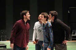 Paul Stuart as Berowne, Jason Sanford as the King of Navarre, Jay Myers as Dumain, and Jonathan Cremini as Longaville.