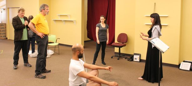 Kelly Kitchens (far right) in rehearsal for The Tempest with Jim Lapan, Jim Gall, Brandon J. Simmons, and Meg McLynn