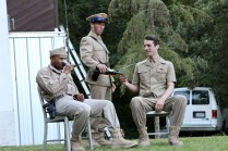 """(L-R) Jason Sanford as Constable, Noah Greene as Dauphin, and Dylan Smith as Orleans in Seattle Shakespeare Company's 2013 Wooden O production of """"Henry V."""""""
