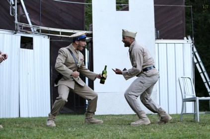 """Noah Greene as Dauphin, and Jason Sanford as Constable in Seattle Shakespeare Company's 2013 Wooden O production of """"Henry V."""""""
