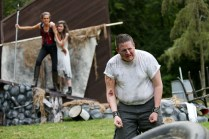 "(L-R) Amy Thone as Prospero, Anastasia Higham as Miranda, and Brian D. Simmons as Caliban in Seattle Shakespeare Company's 2013 Wooden O production of ""The Tempest."""