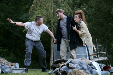 """Brian D. Simmons as Caliban, Mike Dooly as Stephano, and Donna Wood as Trinculo in Seattle Shakespeare Company's 2013 Wooden O production of """"The Tempest."""""""