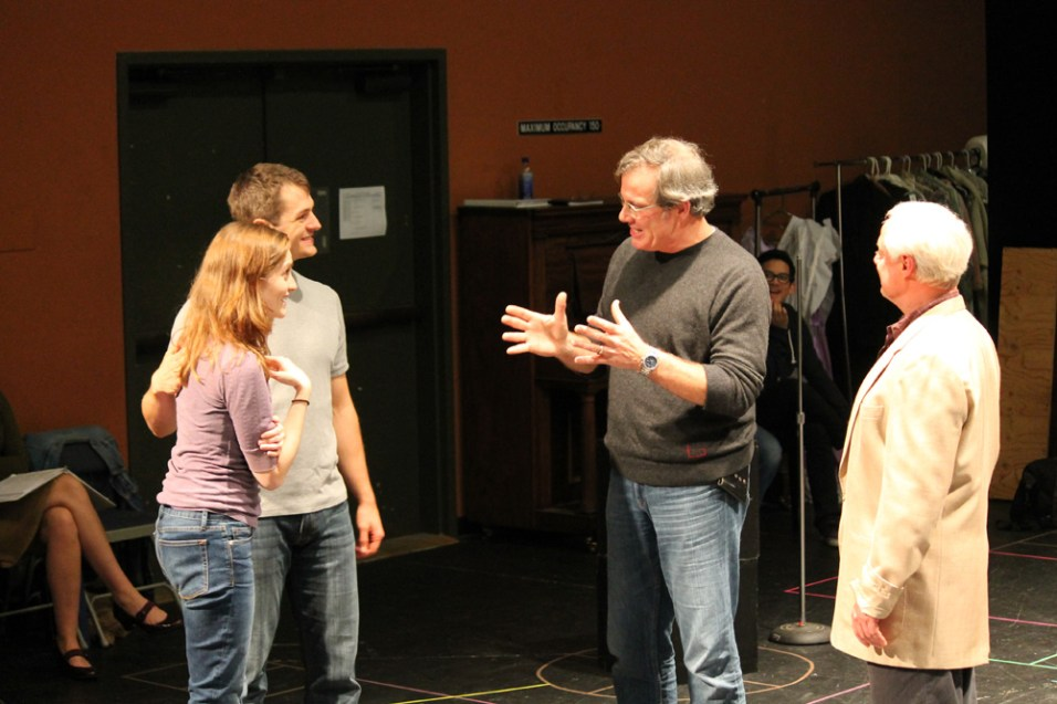 """Brenda Joyner as Hero, Jay Myers as Claudio, Jim Gall as Don Pedro, and Peter A. Jacobs as Leonato in rehearsal for """"Much Ado About Nothing."""""""
