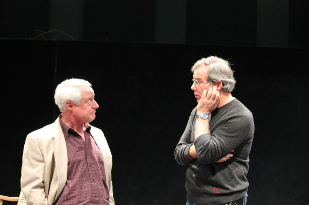 """Peter A. Jacobs as Leonato and Jim Gall as Don Pedro in rehearsal for """"Much Ado About Nothing."""""""