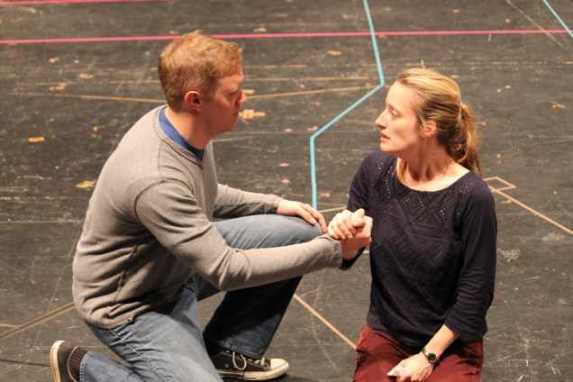"""Matt Shimkus as Benedick and Jennifer Lee Taylor as Beatrice in rehearsal for """"Much Ado About Nothing."""""""