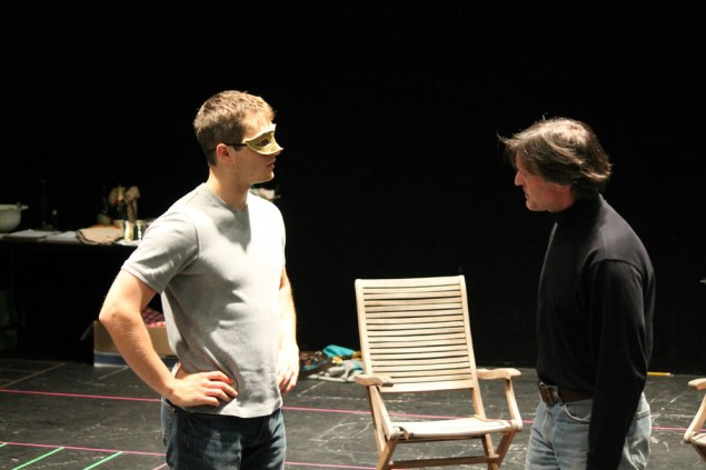 """Jay Myers as Claudio and Nick Rempel as Don John in rehearsal for """"Much Ado About Nothing."""""""