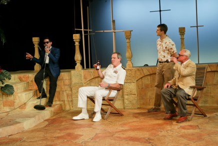 """Justin Huertas as Balthasar, Jim Gall as Don Pedro, Jay Myers as Claudio, and Peter A. Jacobs as Leonato in Seattle Shakespeare Company's 2013 production of """"Much Ado About Nothing."""" Photo by John Ulman."""