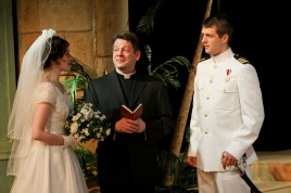 "Brenda Joyner as Hero, Keith Dahlgren as Friar Francis, and Jay Myers as Claudio in Seattle Shakespeare Company's 2013 production of ""Much Ado About Nothing."" Photo by John Ulman."