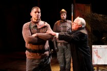 "David Drummond as Coriolanus, Jake Ynzunza, and Peter A. Jacobs as Menenius Agrippa in Seattle Shakespeare Company's 2012 production of ""Coriolanus."" Photo by John Ulman."