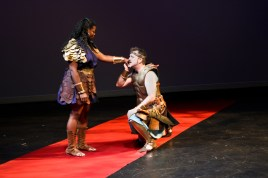 """Qadriyyah Shabazz as Hippolyta and Mike Dooly as Theseus in Seattle Shakespeare Company's 2011 production of """"A Midsummer Night's Dream."""""""