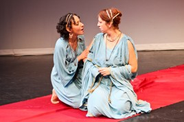 """Allison Strickland as Hermia and Terri Weagant as Helena in Seattle Shakespeare Company's 2011 production of """"A Midsummer Night's Dream."""""""