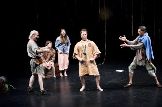 """Kevin McKeon as Peter Quince, Riley Neldam as Flute, Zoey Cane Belyea as Snug, Gordon Carpenter as Snout, and Todd Jefferson Moore as Bottom in Seattle Shakespeare Company's 2011 production of """"A Midsummer Night's Dream."""""""