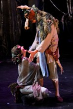 "Amy Thone as Titania and Todd Jefferson Moore as Bottom in Seattle Shakespeare Company's 2011 production of ""A Midsummer Night's Dream."""