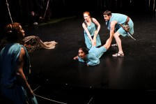 """Terri Weagant as Helena, Allison Strickland as Hermia, Christine Marie Brown as Lysandra, and Trick Danneker as Demetrius in Seattle Shakespeare Company's 2011 production of """"A Midsummer Night's Dream."""""""