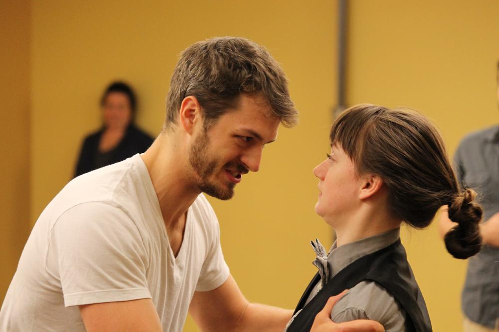 Jay Myers as Orsino and Allie Pratt as Viola.