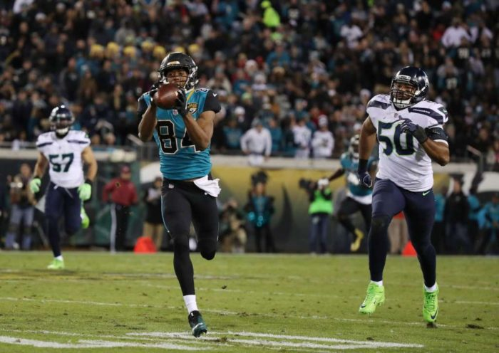 Jacksonville Jaguar wide receiver Keelan Cole hauls in a 75-yard TD pass. (Photo by Logan Bowles/Getty Images)