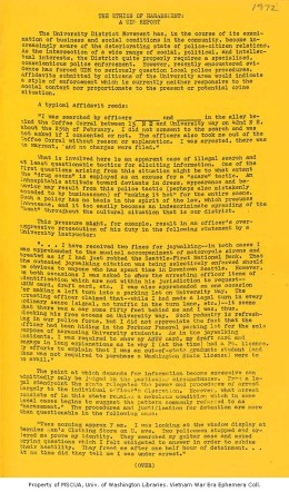 University District Movement report on police harassment, circa 1967 University of Washington Libraries, Vietnam War Era Ephemera Collection