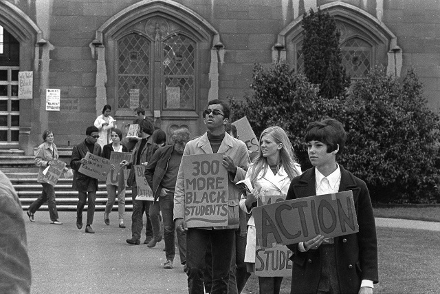 Black Student Union supporters outside UW Administration Building, May 20, 1968