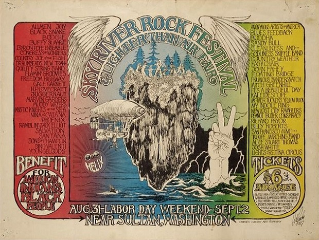 Flyer for the first Sky River Rock Festival. Artwork by Walt Crowley